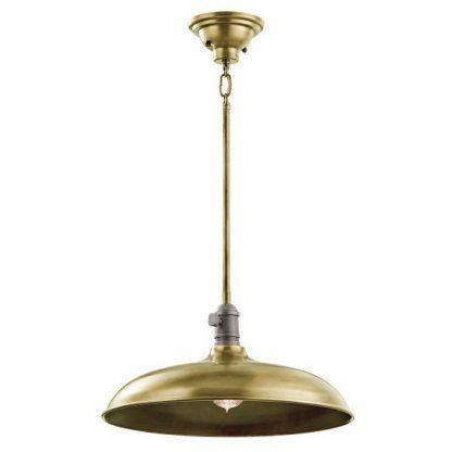 złota industrialna lampa wisząca z dużym kloszem
