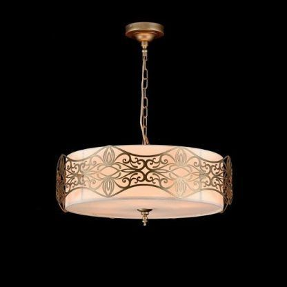 Złota klasyczna lampa stalowa z abażurem - czarne ściany