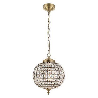 złota klasyczna lampa wisząca z kulą z kryształów