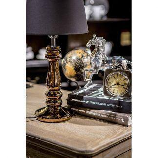 złota lampa stołowa na biurko klasyczna aranżacja