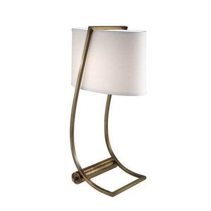 złota lampa stołowa z białym abażurem wysoka