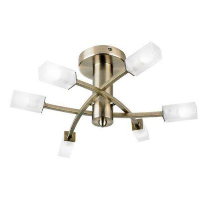 złota lampa sufitowa białe klosze