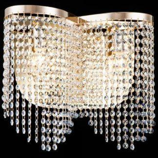 złota lampa sufitowa do salonu w stylu glamour z kryształami