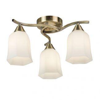 złota lampa sufitowa na trzy żarówki i mleczne klosze