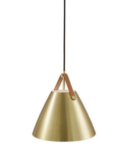 złota lampa wisząca do salonu metalowy klosz