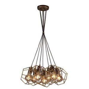 złota lampa wisząca druciane geometryczne klosze