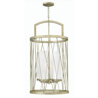 złota lampa wisząca lampion białe świece