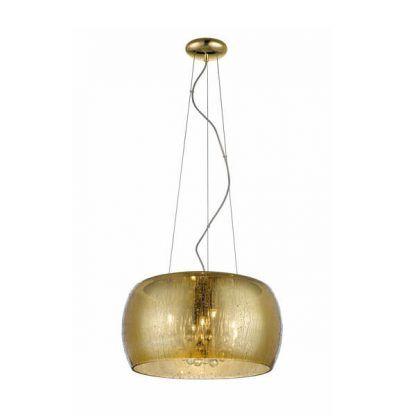 złota lampa wisząca na linkach - szklany klosz do salonu i sypialni