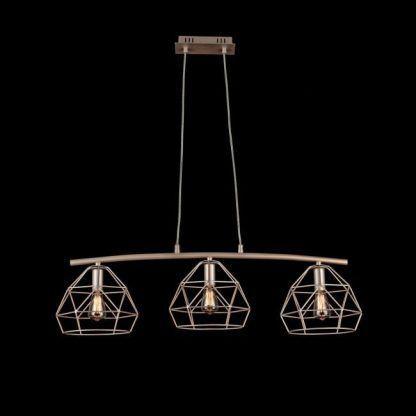 złota lampa wisząca nad stół druciane klosze