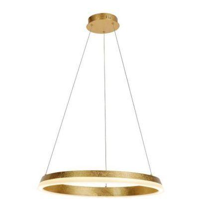 złota lampa wisząca okręg ledowy