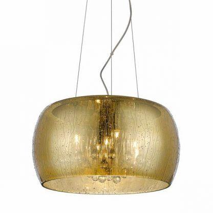 złota lampa wisząca - oświetlenie linkowe z kryształami