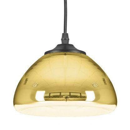 złota lampa wisząca owalny klosz do salonu nowoczesnego