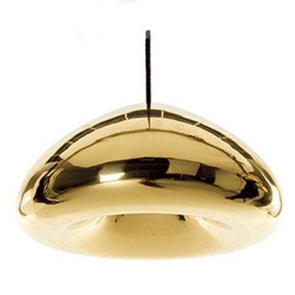 złota lampa wisząca szklany klosz do salonu