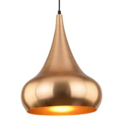 złota lampa wisząca w stylu etno metalowa