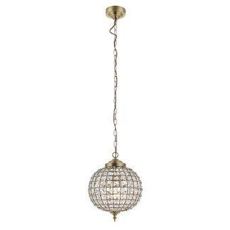 złota lampa wisząca z kryształowym kloszem