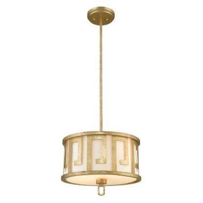 Złota lampa wisząca z mlecznym abażurem do sypialni