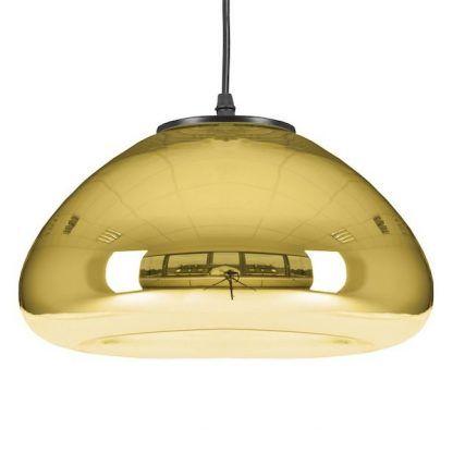 złota lampa wisząca ze szklanym kloszem do sypialni