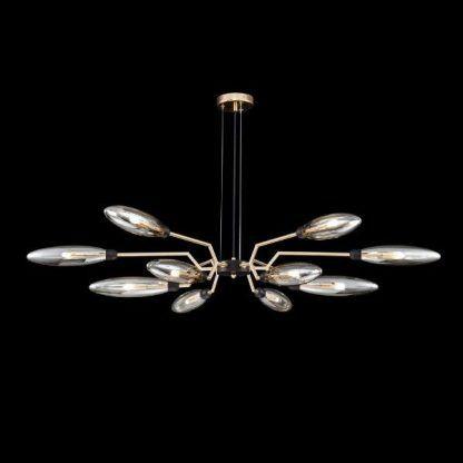 Złota lampa wisząca ze szklanymi kloszami