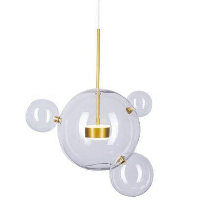 Złota lampa z 4 szklanymi kulami do sypialni