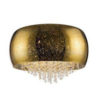 złota lampa z kryształami - szklana do korytarza