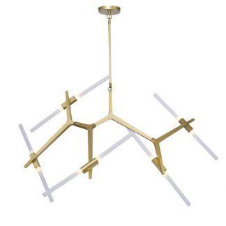 Złota lampa z regulacją ramion do salonu