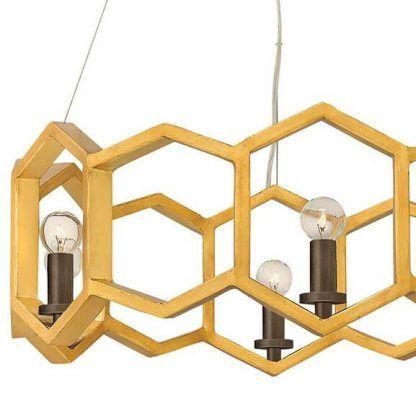 Złota metalowa lampa wisząca sześciany do salonu