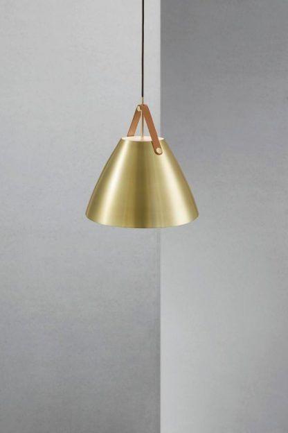 złota skandynawska lampa do salonu nowoczesnego