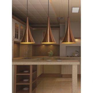 złota stożkowa lampa wisząca aranżacja kuchnia