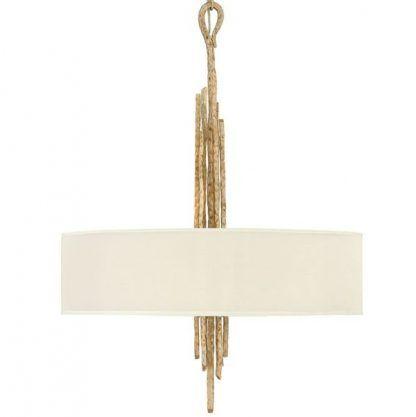 Złote pręty w lampie wiszącej z abażurem do salonu