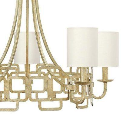 złoty elegancki żyrandol z białymi abażurami