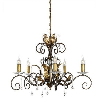 złoty i brązowy żyrandol klasyczny z wieloma dekoracyjnymi elem
