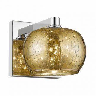 złoty kinkiet szklany z kryształami - kula do salonu