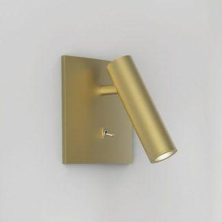 złoty kinkiet tuba z włącznikiem do czytania w sypialni