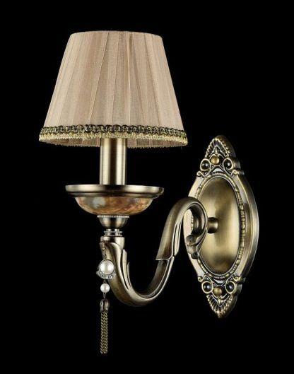 złoty kinkiet z perełką beżowy abażur klasyczny