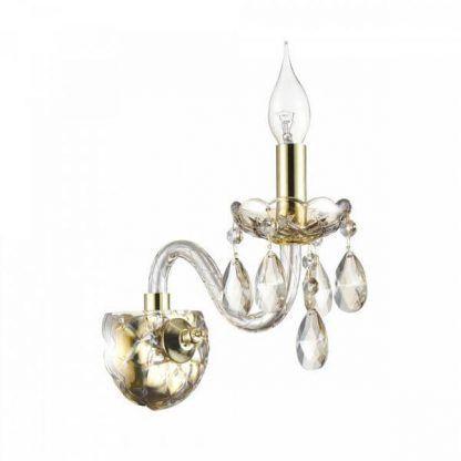 Złoty kinkiet ze świecznikiem i kryształkami