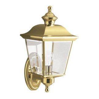 złoty kinkiet zewnętrzny na elewację lub schody - szklany