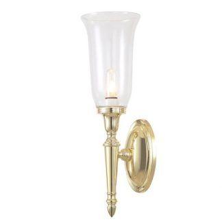 złoty niewielki podłużny kinkiet na korytarz lub do salonu