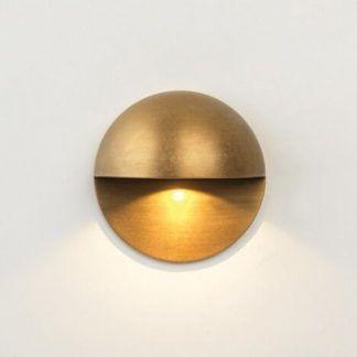 złoty okrągły płaski kinkiet led na schody lub korytarz