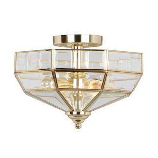 złoty plafon do salonu - lampa sufitowa art deco ze szkła
