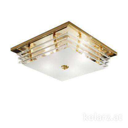 złoty plafon z kryształowym kloszem