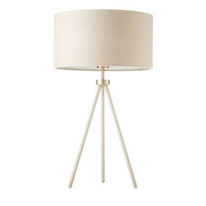 złoty trójnóg stołowy z beżowym abażurem