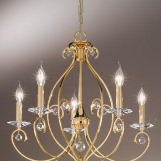 złoty zyrandol na 5 żarówek świeczniki