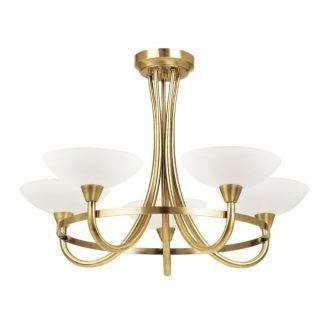złoty żyrandol na pięć żarówek z białymi kloszami