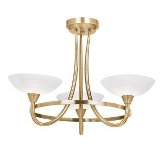złoty żyrandol na trzy żarówki z trzema otwartymi kloszami