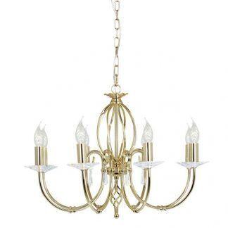 złoty żyrandol wiszacy - elegancki salon