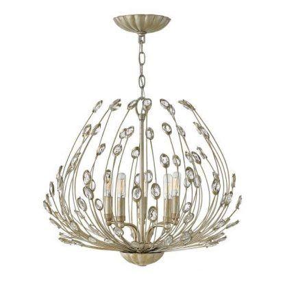 Złoty żyrandol z kryształkami stylizowany na pióra