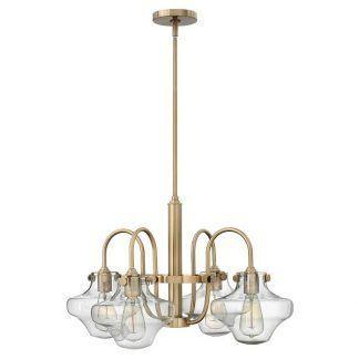 złoty żyrandol ze szklanymi kloszami industrialny