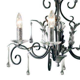 żyrandol czarny rustykalny - świeczniki srebrne i szklane