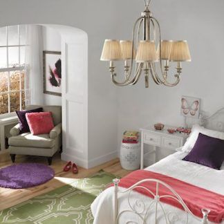 żyrandol do sypialni z tekstylnymi abazurami - złoty