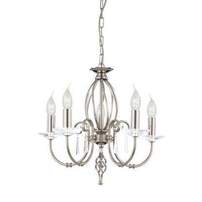 żyrandol glamour świecznikowy na 5 żarówek ze szkłem
